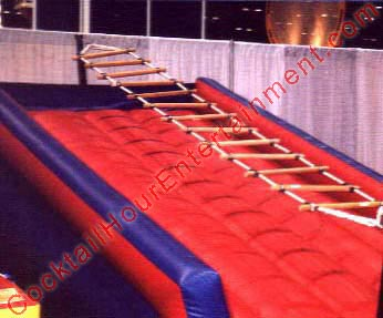Arcade inflatable rope ladder climb